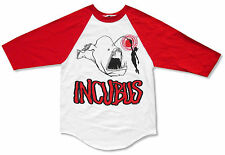 "Incubus ""Big Fish"" White & Red 3/4 Sleeve Raglan Jersey Shirt Large New Official"