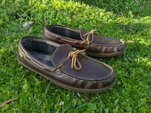 LL BEAN 212164 Men's Brown Leather Hand Sewn Flannel Lined Slippers Size 12 M