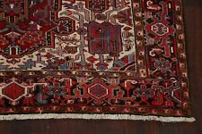 Excellent Red Geometric Vintage 8'x11' Hand-knotted Traditional Area Rug Carpet