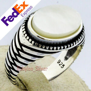 Natural mother of pearl Stone 925 Sterling Silver Turkish Men Ring All Size.