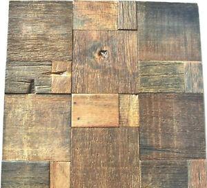 Reclaimed Wood Wall Tile, Natural Wood Wall Decor, Mosaic Tiles, Rustic Tiles
