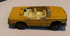 Vintage yellow convertible Mercedes 350SL Matchbox Superfast distressed toy car