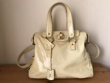 YSL YVES SAINT LAURENT Ivory Patent leather Gold Muse handbag shoulder bag