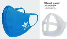 3 SMALL BLUE ADIDAS FACE MASKS & 3 BREATHE BRACKETS 100% AUTHENTIC REEBOK UA