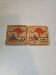 Lot of 2 Outback Steakhouse Grey Poupon Dijon Mustard Cardboard Drink Coasters