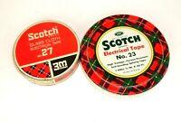 2 Vtg Scotch Tape Metal Tins Electrical Tape No 27 No 23 3M memorabilia empty