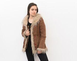 Y2K Women's M Afghan Faux Fur faux Suede Coat Jacket Embroidered VTG RAea