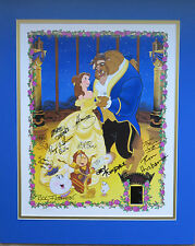 Disney Autographed By 9 Limited Edition Beauty & the Beast Litho w/2 Film Cels