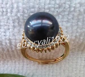 Natural 11-12mm Black South Sea Pearl Ring AAA