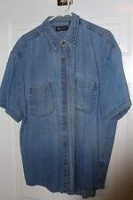 Men's Faded Glory - Men's Short-Sleeve Button-Down Shirt - Blue Jean = XL