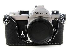 Black Leather Half Case for Nikon FM2, FM3A, FE, FE2 - BRAND NEW White Stitching