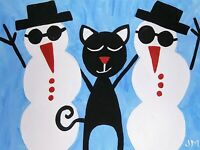 """new! ACEO original signed folk art acrylic painting """"Black Cat and the Snowmen"""""""