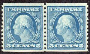 1919 US SC 496 5c Blue Washington Pair - Perf 10V Vertical - MNH XF/S Gem