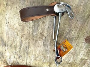 Western hackamore bit w/flat brown leather nose