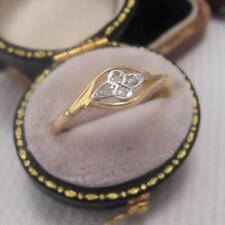 Período de Art Deco Vintage Diamante Anillo en Oro 18 CT y Platino Tamaño Q