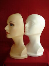 Female Mannequin Head Foams w/Mask - Head Display for Wig Hat Glasses Mask