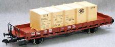 Märklin Rungenwagen mit Kiste  SBB rotbraun  aus Packung 5506  neuwertig__Spur 1