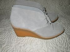 Cole Haan NikeAir Ankle Wedge Boots Beige Suede Leather 7 B