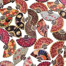 50Pcs/lot Mixed Color Fan Wood Button 2 Holes Sewing DIY Craft Scrapbooking