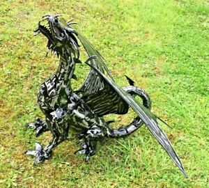 Metal Dragon Black/Silver Garden Ornament Sculpture Welsh Large Garden Statue
