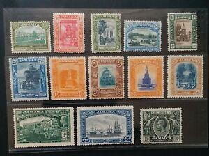 JAMAICA 1921 KG V 1/2d to 10s SG 94 - 106 Sc 88 - 100 pictorial set 13 MLH