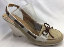 Coach Womens Athena Tan Suede Leather Wedge Heels Boat Shoes Sling Back Size 6