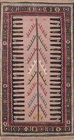 Hand-Woven Tribal Beige Kilim Oriental Runner Rug Wool 3'x6' New