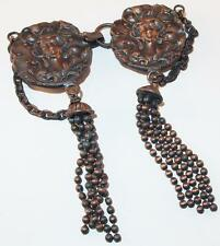 VINTAGE ART NOUVEAU LADY DESIGN REPOUSSE COPPER BEADED CHAIN TASSELS BELT BUCKLE