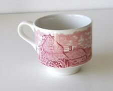 Vintage Red & White Toile English Transferware Coffee/Tea Cup By Broadhurst Co.