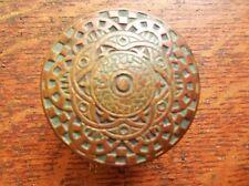 Antique Bronze Victorian Doorknob by Mallory Wheeler c1885 Checkerboard