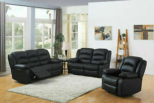 Recliner Sofa Leather 3+2+1 Bonded Reclining Lazyboy Sofa Suite Pc Sofas