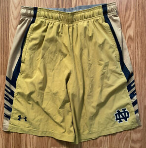 Notre Dame Football Team Issued Under Armour Shorts Gold Large
