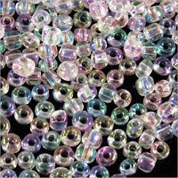 rocaille glass seed beads Transparent 4mm Crystal AB 20g (6/0)