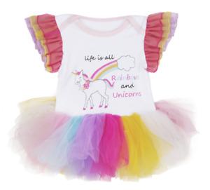 Ganz E7 Baby Girl 0-6 mo Diaper Shirt Tutu One Piece - Rainbow Unicorn ER59462