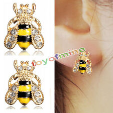 Style New Jewelry Enamel Rhinestone Bumble Bee Crystal Earrings Animal Ear Stud