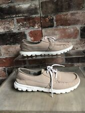 Sketchers Goga Mat Lace Up Boat Shoes Trainers Size 3 Taupe Beige Natural