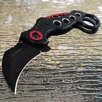 "TAC FORCE SPRING ASSISTED TACTICAL BLACK KARAMBIT CLAW POCKET KNIFE Open 7.75"""