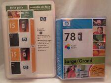 HP 78 L Tri-Color (2x) 15 Black Inkjet Factory Sealed exp2008 (2blk/1xl color)