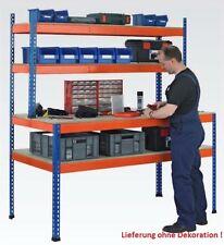 Industrie Packtisch - Arbeitstisch - Werkbank - mit 2 Regalebenen - Spanplatte