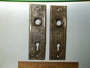 Antique - Vintage Pair Of Brass Door Knob Back Plate