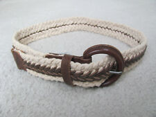 "Abercrombie Women's Off-White Cotton and Brown Leather Belt Sz. S/M (31-32"")"