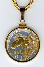 Custom Gold on Silver Necklace, U.S. Native American Dollar  2012, 96P