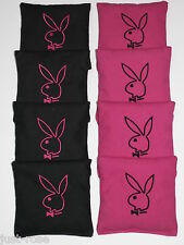PLAYBOY BUNNY PINK BLACK Cornhole ACA REGULATION Bean Corn Bags EMBROIDERED NEW