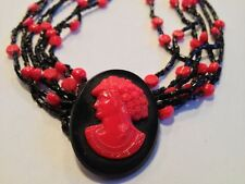 Multi Strand Red & Black French Jet Glass Bead Necklace w/ Cameo Pendant