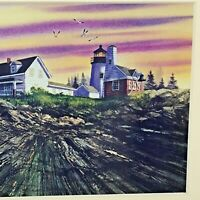Cottagecore Art Diane Phalen Lighthouse Farm Watercolor 10x8 Matted  Sunset Sky