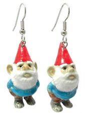 New NORTHERN ROSE Porcelain Earrings BLUE GNOME Figurine Figure Jewelry RED HAT