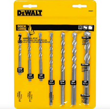 Dewalt Carbide Hammer Drill Bit Set 7 Pack Drilling Bits 3 Flat 3/8 inch Chuck