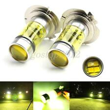 Pair Yellow Universal Truck H7 100W 12V 24V Cree LED Fog DRL Parking Lamp Bulb