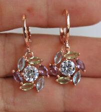 18K Rose Gold Filled- Windmil Flower Amethy Topaz Hollow Cocktail Women Earrings