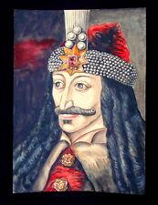 Antique Original Painting DRACULA, Vlad the Impaler, Vampire, Watercolor, Rare